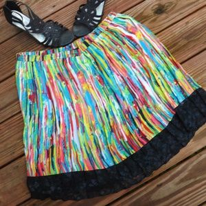 Colorful striped skirt with black lace